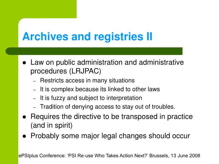 Archives and registries II