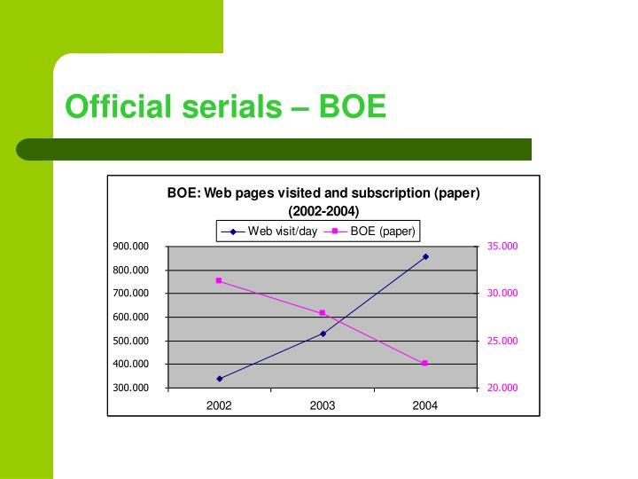 Official serials – BOE