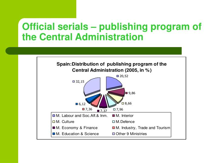 Official serials – publishing program of the Central Administration
