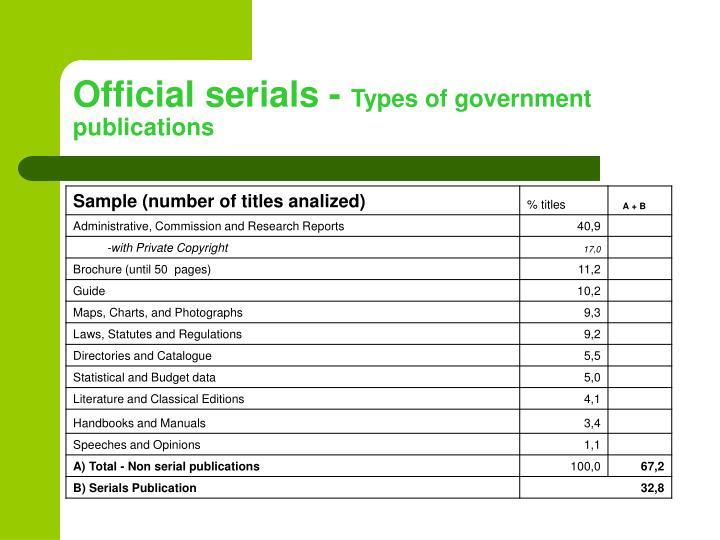 Official serials -