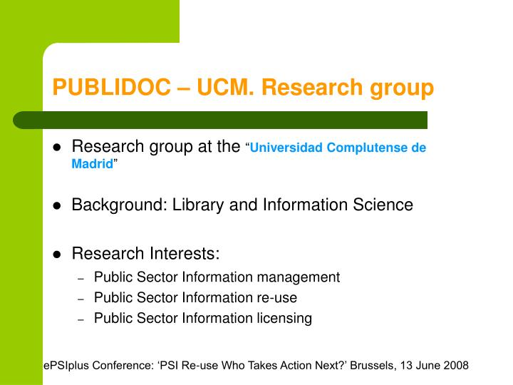 PUBLIDOC – UCM. Research group