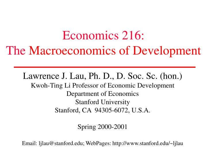 Economics 216 the macroeconomics of development