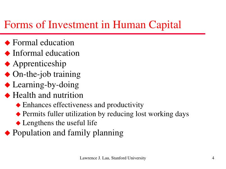 Forms of Investment in Human Capital