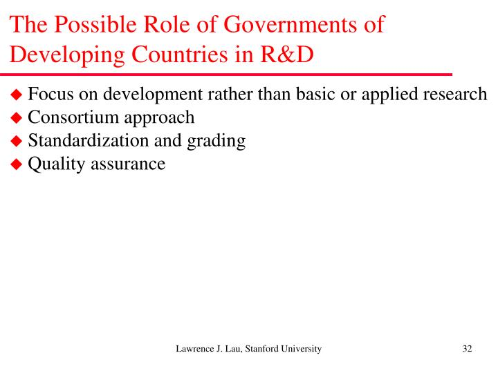 The Possible Role of Governments of Developing Countries in R&D