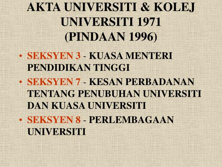 AKTA UNIVERSITI & KOLEJ UNIVERSITI 1971
