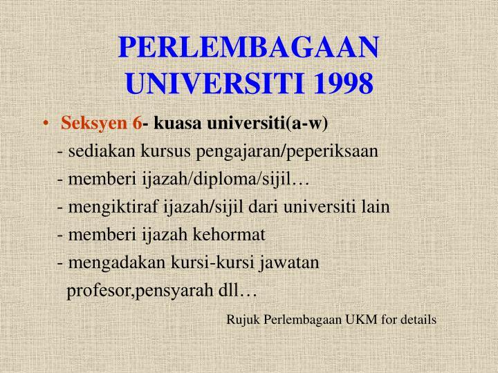 PERLEMBAGAAN UNIVERSITI 1998