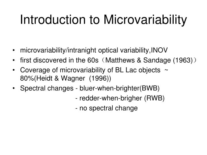 Introduction to Microvariability