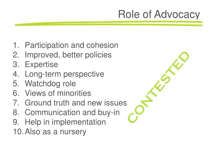 Role of Advocacy