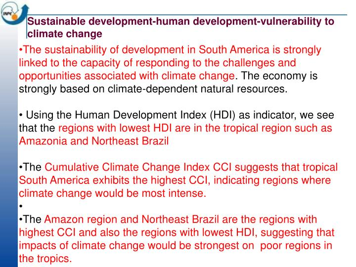 Sustainable development-human development-vulnerability to climate change