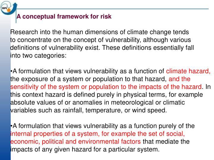 A conceptual framework for risk