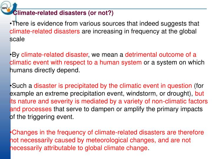 Climate-related disasters (or not?)