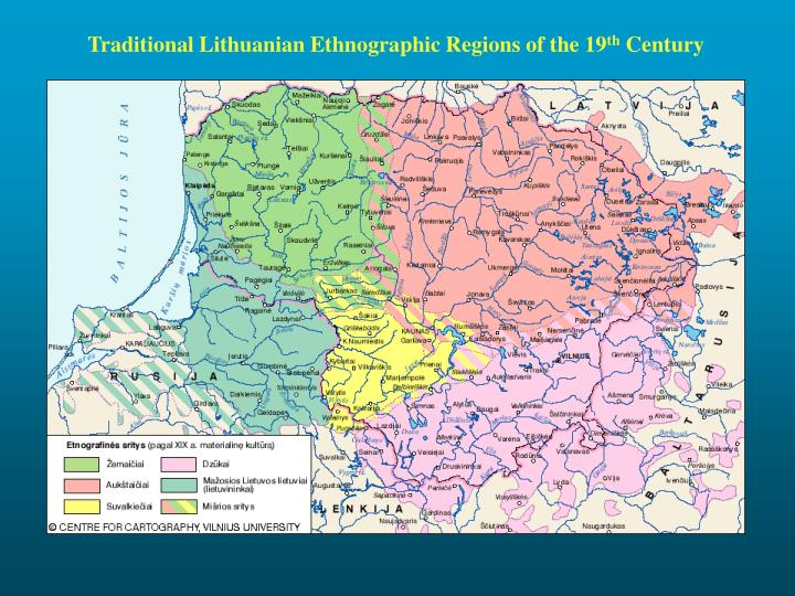 Traditional Lithuanian Ethnographic Regions of the 19