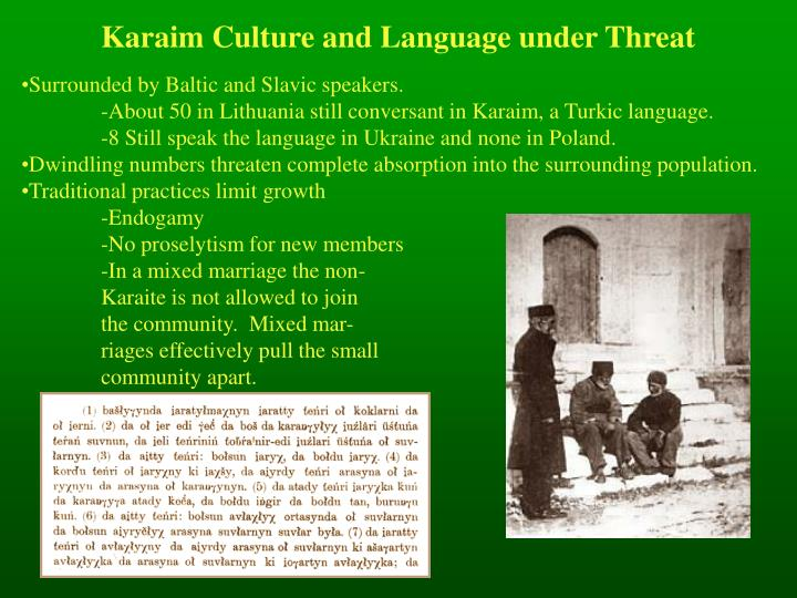 Karaim Culture and Language under Threat