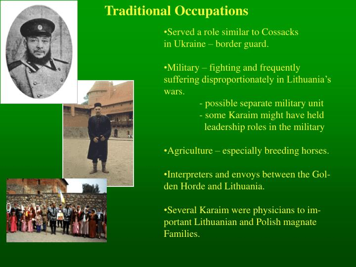 Traditional Occupations