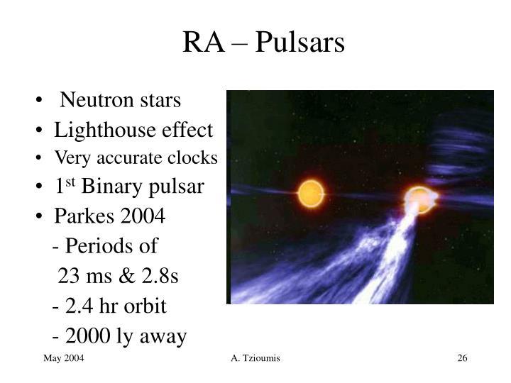 RA – Pulsars