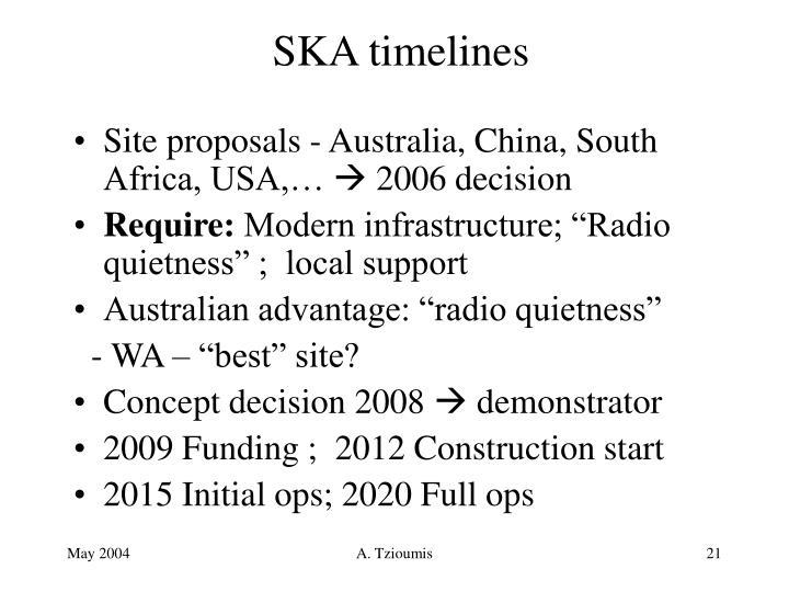 SKA timelines