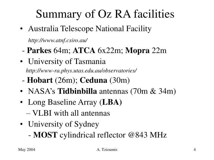 Summary of Oz RA facilities