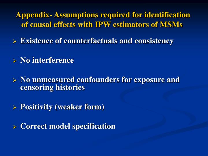 Appendix- Assumptions required for identification of causal effects with IPW estimators of MSMs