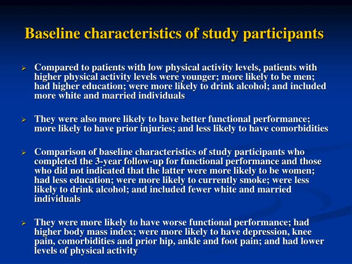 Baseline characteristics of study participants