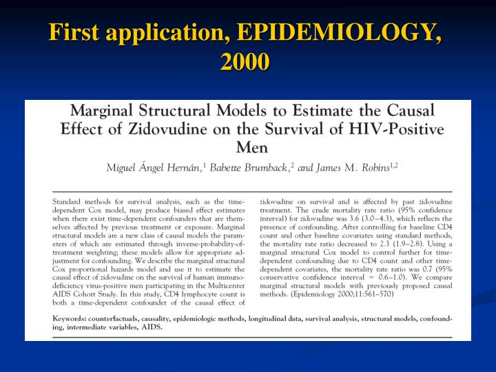First application, EPIDEMIOLOGY, 2000