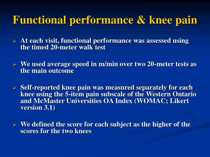 Functional performance & knee pain