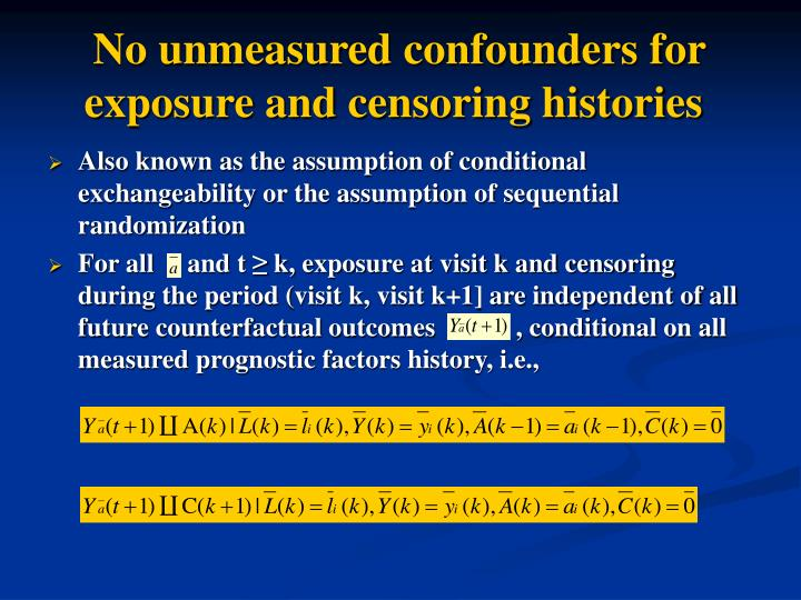 No unmeasured confounders for exposure and censoring histories