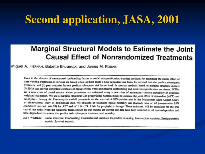 Second application, JASA, 2001