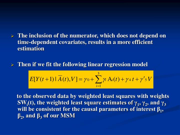 The inclusion of the numerator, which does not depend on time-dependent covariates, results in a more efficient estimation