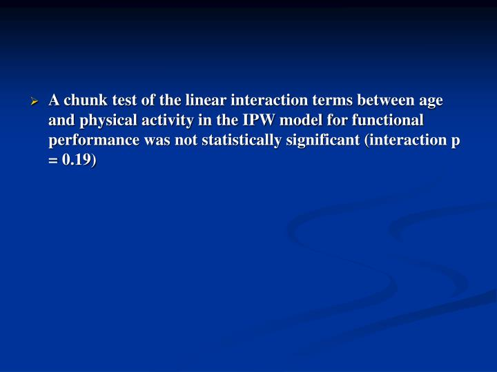 A chunk test of the linear interaction terms between age and physical activity in the IPW model for functional performance was not statistically significant (interaction p = 0.19)