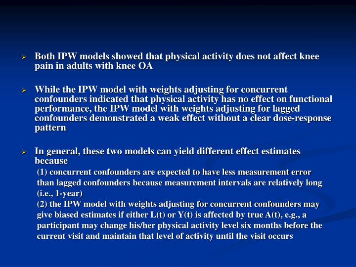 Both IPW models showed that physical activity does not affect knee pain in adults with knee OA