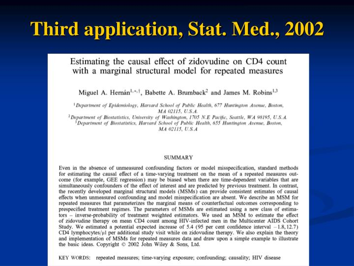 Third application, Stat. Med., 2002