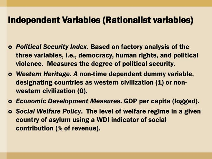 Independent Variables (Rationalist variables)