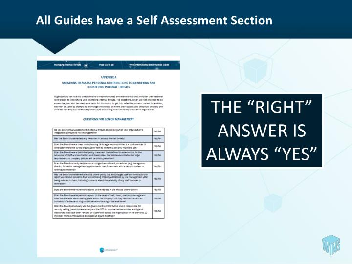 All Guides have a Self Assessment Section