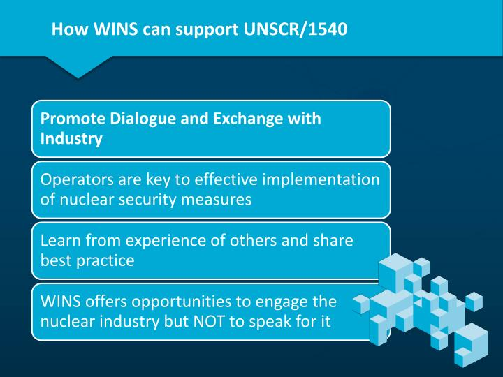 How WINS can support UNSCR/1540