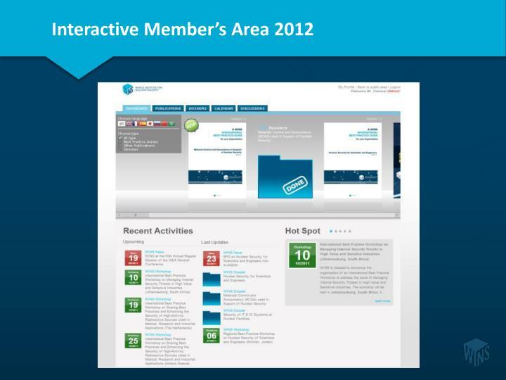Interactive Member's Area 2012