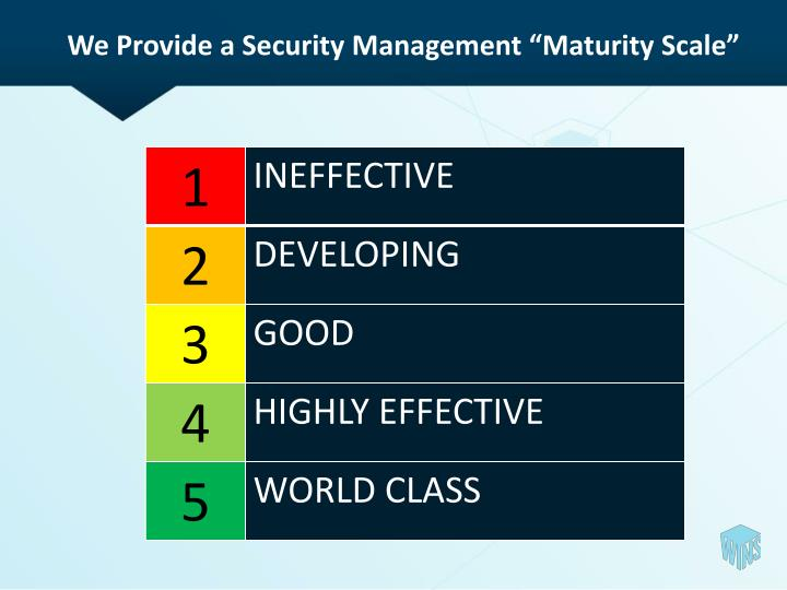 "We Provide a Security Management ""Maturity Scale"""