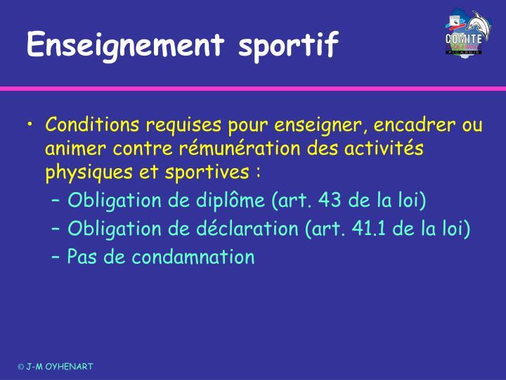 Enseignement sportif