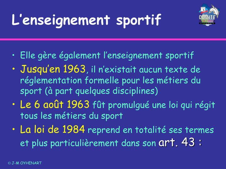 L'enseignement sportif
