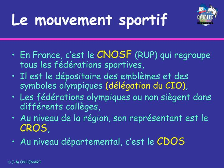 Le mouvement sportif
