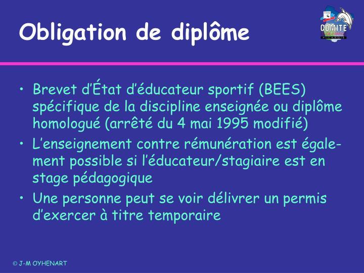 Obligation de diplôme