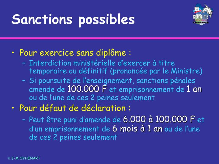 Sanctions possibles