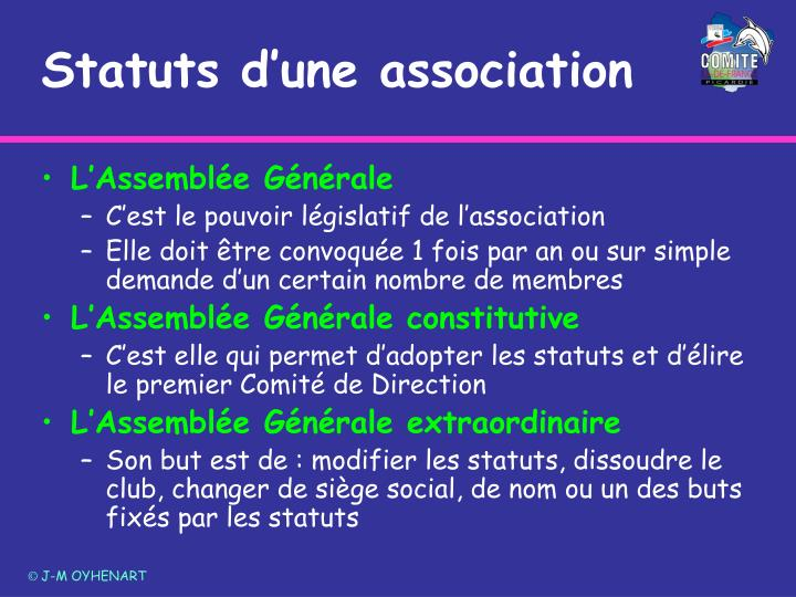 Statuts d'une association