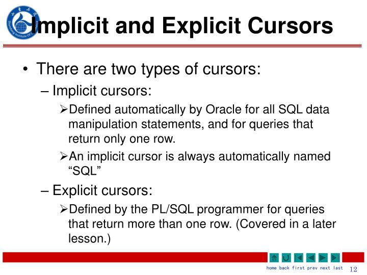 Implicit and Explicit Cursors