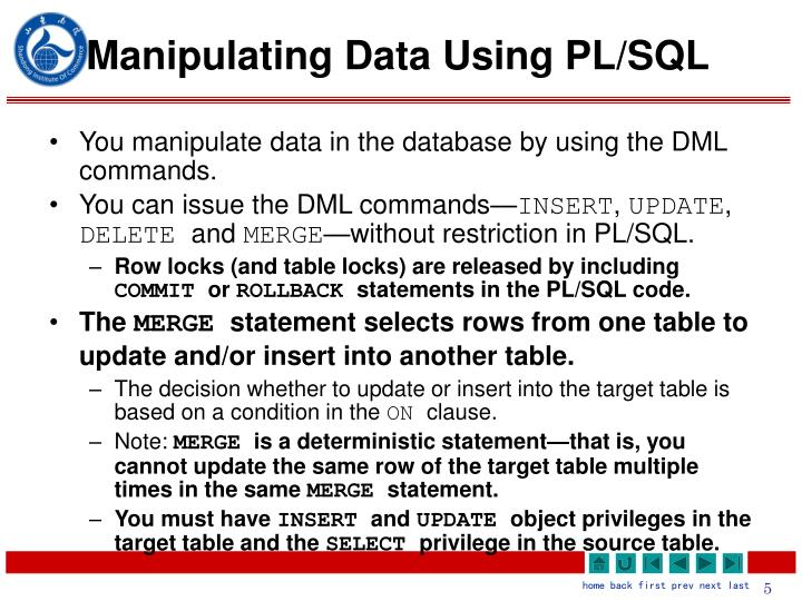 Manipulating Data Using PL/SQL