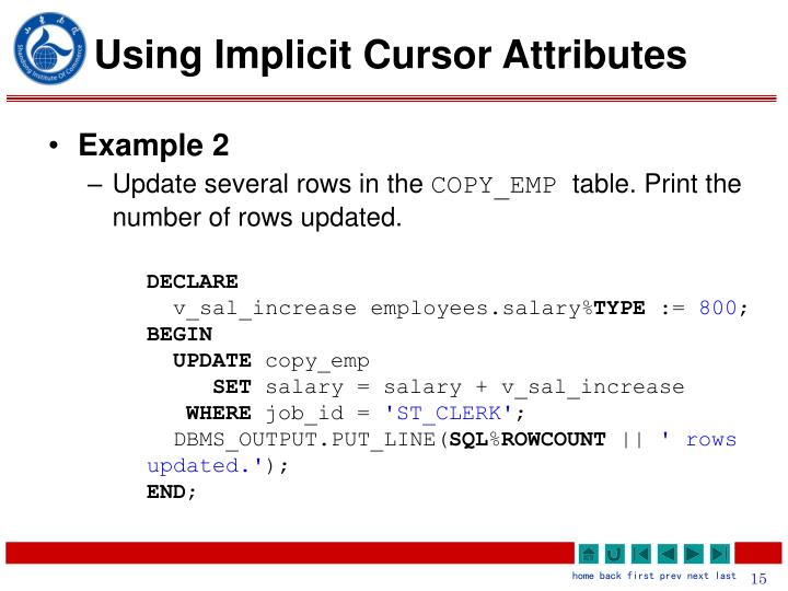 Using Implicit Cursor Attributes