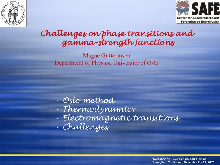 Challenges on phase transitions and
