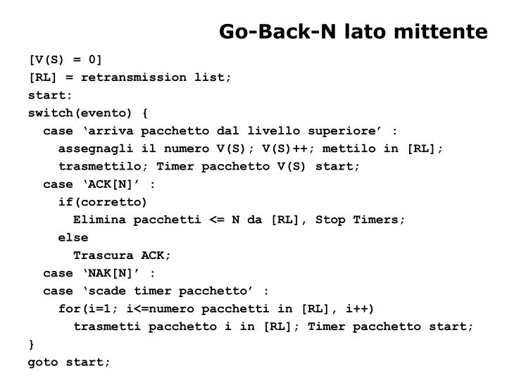 Go-Back-N lato mittente