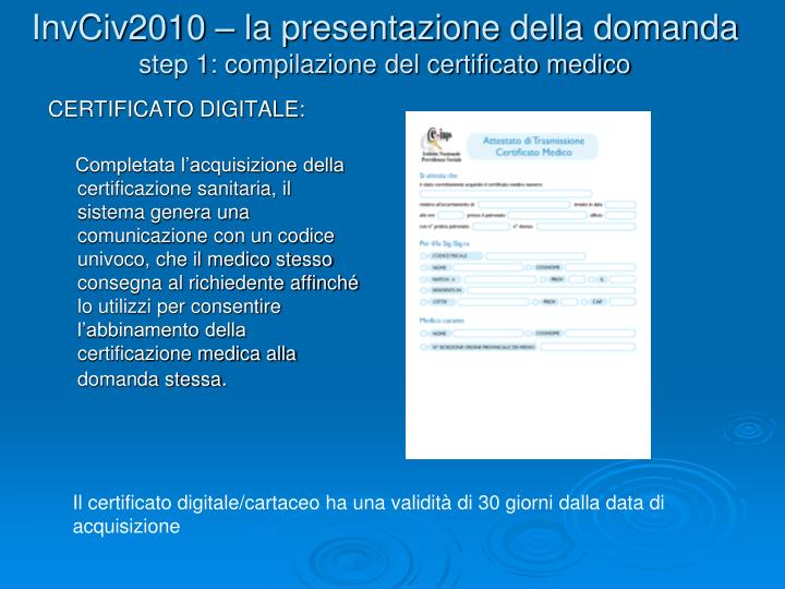InvCiv2010 – la presentazione della domanda