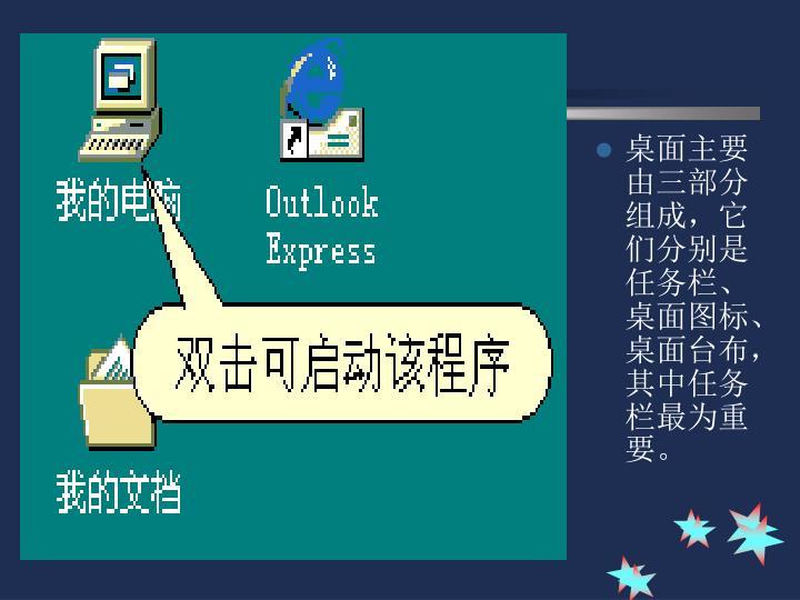 桌面主要由三部分组成,它们分别是任务栏、桌面图标、桌面台布,其中任务栏最为重要。