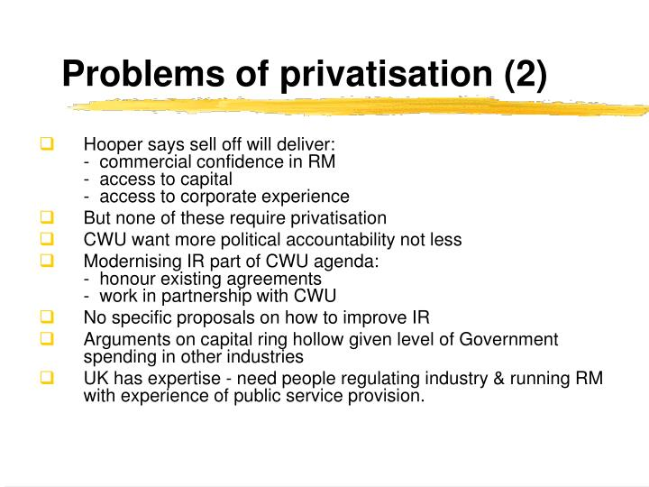 Problems of privatisation (2)